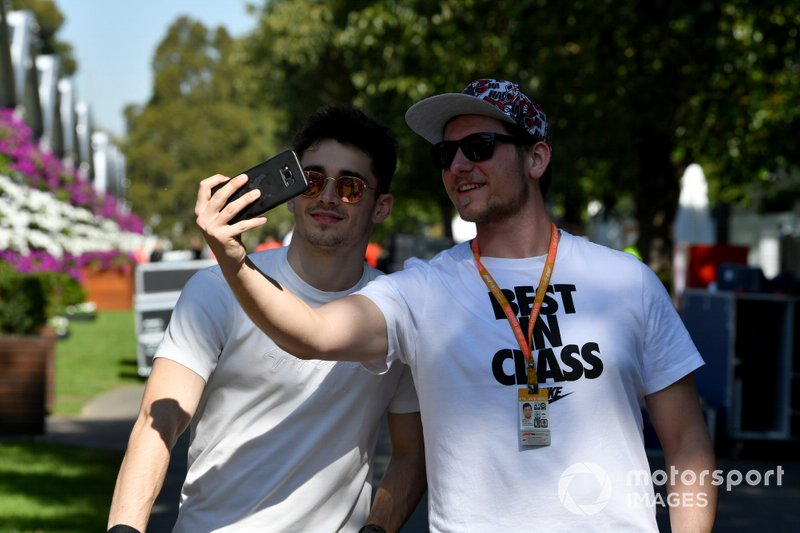 Charles Leclerc, Ferrari poses for a selfie