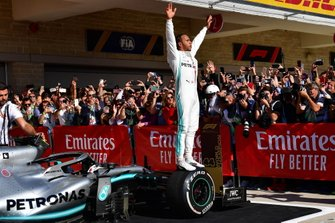 Lewis Hamilton, Mercedes AMG F1, 2nd position, celebrates in Parc Ferme after securing his sixth world drivers championship title