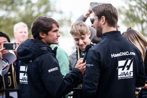 Pietro Fittipaldi, test and development driver, Haas F1 Team, and Romain Grosjean, Haas F1 Team