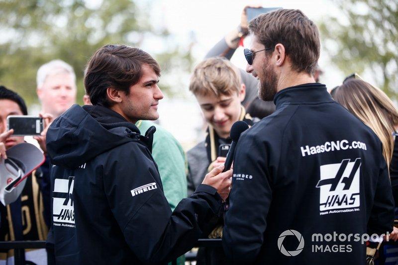 Pietro Fittipaldi, test and development driver, Haas F1 Team, and Romain Grosjean, Haas F1 Team