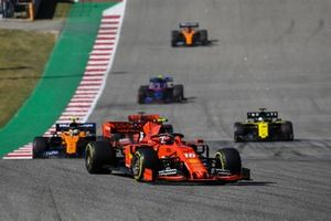 Charles Leclerc, Ferrari SF90, leads Lando Norris, McLaren MCL34, Daniel Ricciardo, Renault F1 Team R.S.19, Pierre Gasly, Toro Rosso STR14, and Carlos Sainz Jr., McLaren MCL34