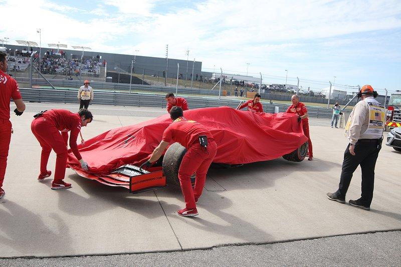 The car of Charles Leclerc, Ferrari SF90 back in pitlane