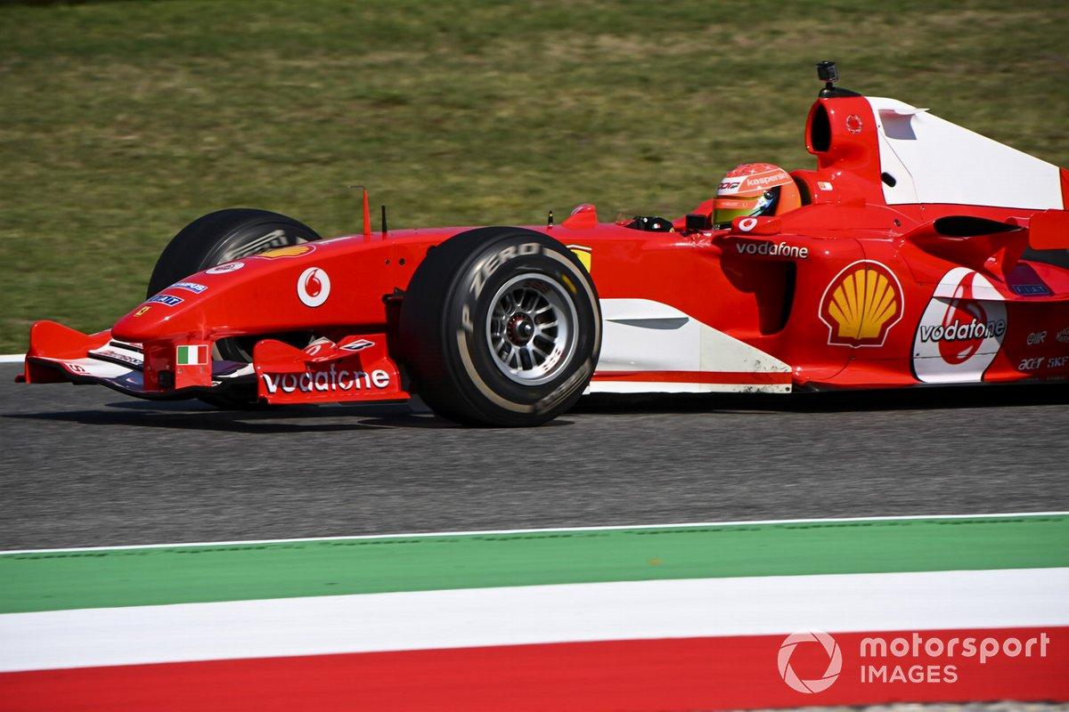 Mick Schumacher drives his fathers championship winning Ferrari F2004 on a demo run celebrating ferrari's 1000th Grand Prix