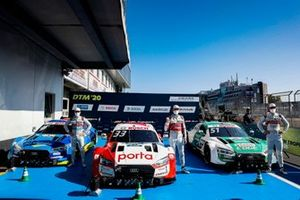 Top 3 after Qualifying, Pole sitter René Rast, Audi Sport Team Rosberg, Robin Frijns, Audi Sport Team Abt Sportsline, Nico Müller, Audi Sport Team Abt Sportsline