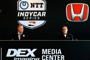 Indycar engine supply agreement meeting: Jay Frye, IndyCar president, and Ted Klaus of Honda HPD