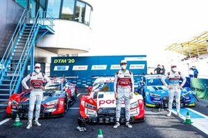 Top 3 after Qualifying, Pole sitter René Rast, Audi Sport Team Rosberg, Loic Duval, Audi Sport Team Phoenix, Robin Frijns, Audi Sport Team Abt Sportsline