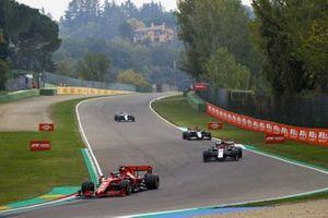 Sebastian Vettel, Ferrari SF1000, Kimi Raikkonen, Alfa Romeo Racing C39, Romain Grosjean, Haas VF-20, and Nicholas Latifi, Williams FW43