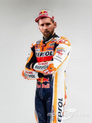 Montaje de Leo Messi con los colores del HRC de MotoGP