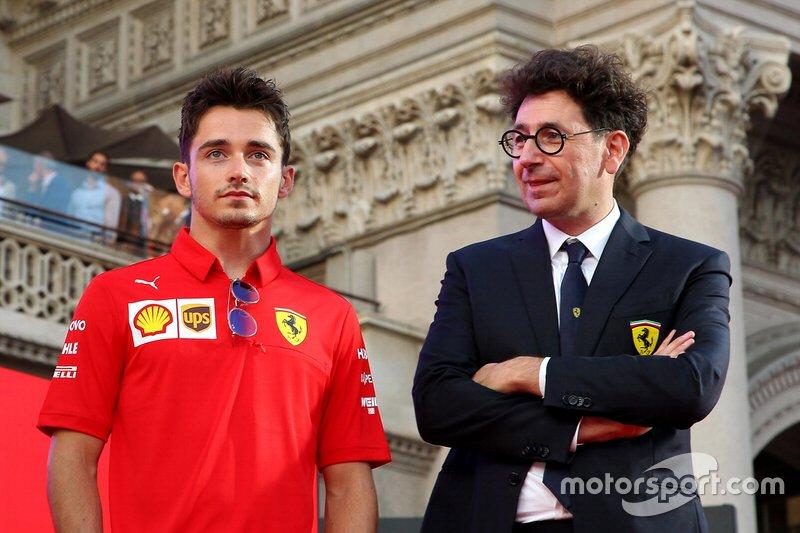 Charles Leclerc, Ferrari, Mattia Binotto, Team Principal Ferrari