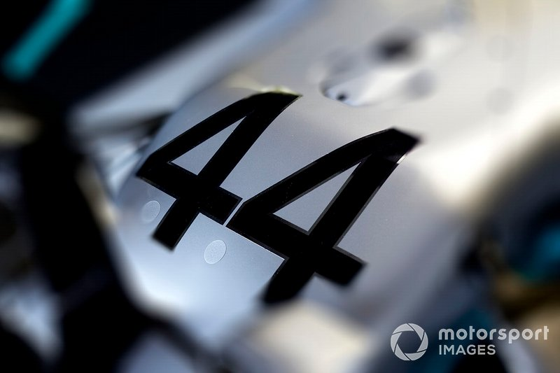 A number 44 on the Lewis Hamilton Mercedes AMG F1 W10