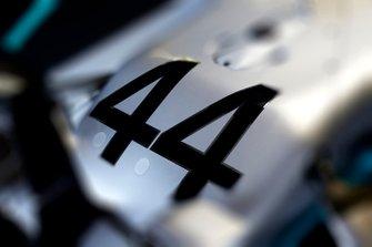 El #44 en el coche de Lewis Hamilton Mercedes AMG F1 W10