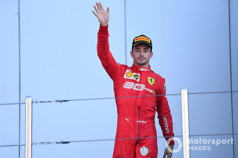 Charles Leclerc, Ferrari, terzo classificato, sul podio