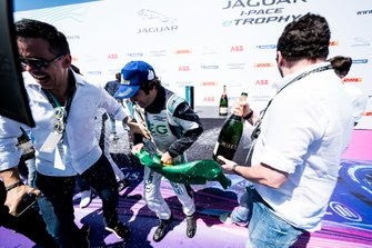 Race winner Sérgio Jimenez, Jaguar Brazil Racing celebrates on the podium