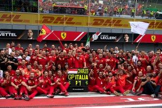 Race winner Charles Leclerc, Ferrari poses for a photograph with his Ferrari team