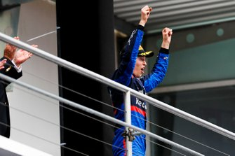 Daniil Kvyat, Toro Rosso, 3rd position, on the podium