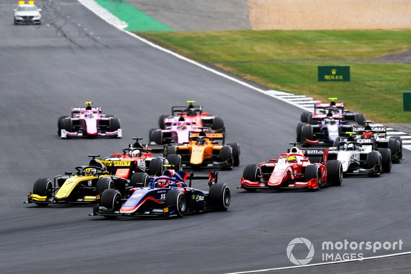 Nobuharu Matsushita, Carlin, Guanyu Zhou, UNI Virtuosi Racing and Mick Schumacher, Prema Racing
