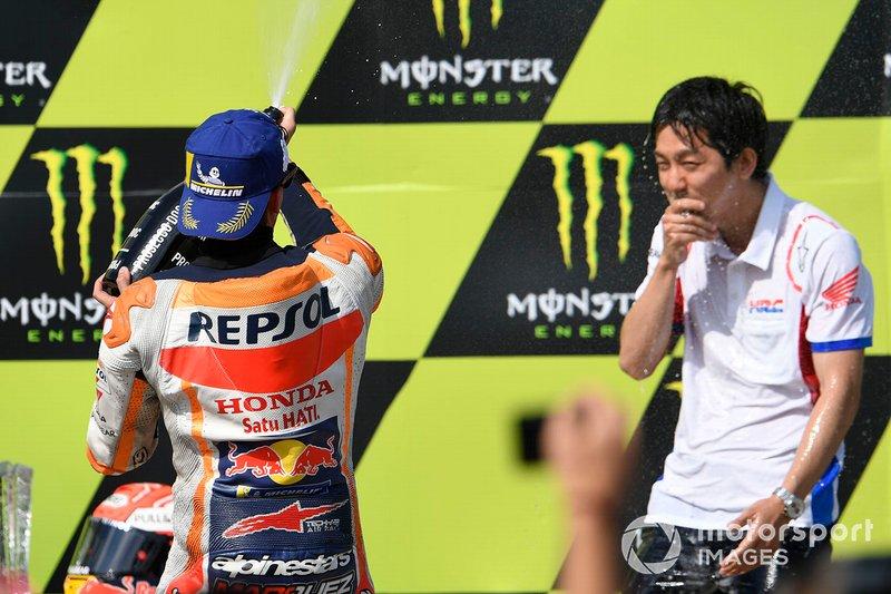 Podio: Marc Márquez, ganador de la carrera, Repsol Honda Team