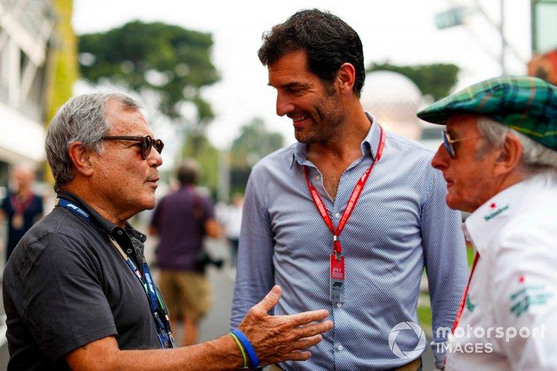 Sir Martin Sorrell, Mark Webber, et Sir Jackie Stewart, triple Champion du monde