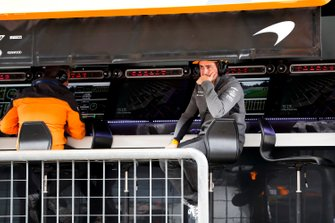 Fernando Alonso on the McLaren pit wall
