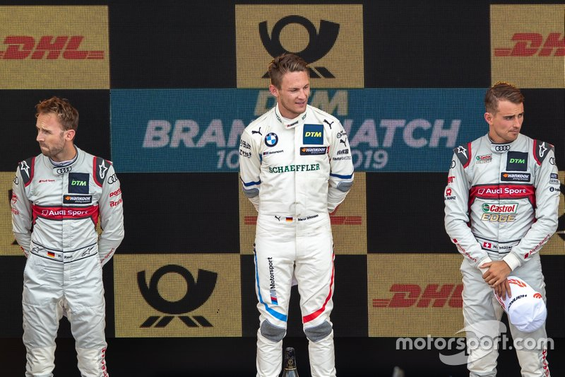Podium: Racewinnaar Marco Wittmann, BMW Team RMG, tweede plaats René Rast, Audi Sport Team Rosberg, derde plaats Nico Müller, Audi Sport Team Abt Sportsline