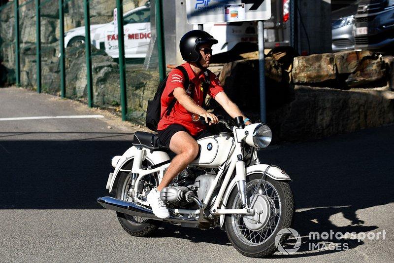 Sebastian Vettel, Ferrari, on a motorcycle