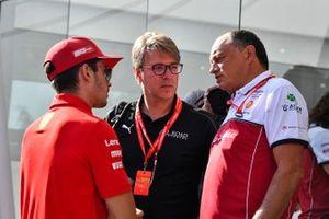 Charles Leclerc, Ferrari, and Frederic Vasseur, Team Principal, Alfa Romeo Racing
