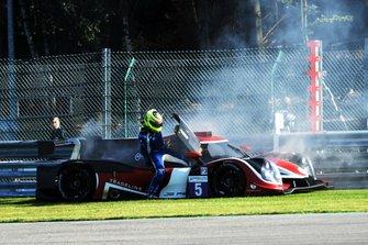#5 360 Racing Ligier JS P3 Nissan: John Corbett, Andreas Laskaratos, James Winslow on fire