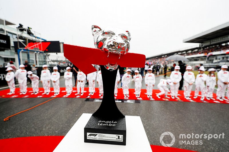 Race winners trophy on the grid