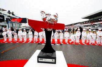 Race winners trophy on the grid