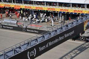 Valtteri Bottas, Mercedes AMG W10, is returned to the garage