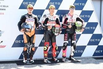 Pole sitter Tatsuki Suzuki, SIC58 Squadra Corse, second place Aron Canet, Max Racing Team, third place Tony Arbolino, Team O