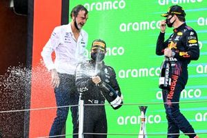 Valtteri Bottas, Mercedes, 3rd position, sprays Champagne from the podium