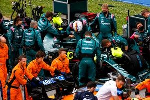 Sebastian Vettel, Aston Martin, arrives on the grid