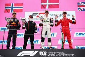 Podium: race winner Frederik Vesti, ART Grand Prix, second place Dennis Hauger, Prema Racing, third place, Olli Caldwell, Prema Racing