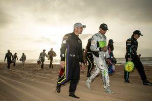 Sebastien Loeb, X44, and Stephane Sarrazin, Veloce Racing, on the beach