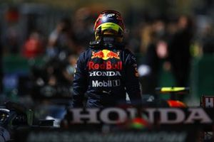 Sergio Perez, Red Bull Racing, in Parc Ferme after Qualifying