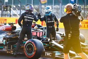 Valtteri Bottas, Mercedes, and pole man Lewis Hamilton, Mercedes, congratulate each other in Parc Ferme