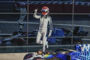 George Russell, Williams, waves to fans after Qualifying