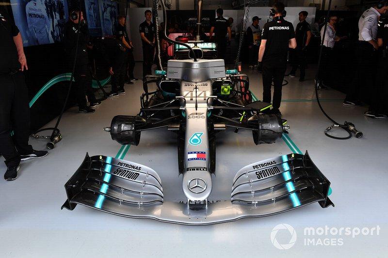 The car of Lewis Hamilton, Mercedes AMG F1 W10, in the garage