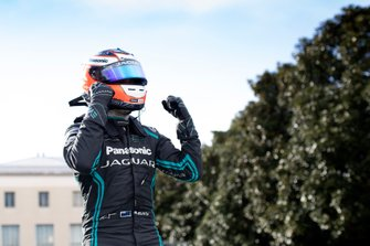 Mitch Evans, Panasonic Jaguar Racing, celebrates his maiden victory