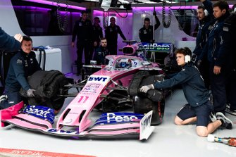Sergio Perez, Racing Point RP19, in his pit garage
