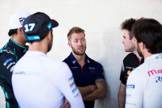 Sam Bird, Envision Virgin Racing talks to Oliver Rowland, Nissan e.Dams, Gary Paffett, HWA Racelab, Jérôme d'Ambrosio, Mahindra Racing and Nelson Piquet Jr., Panasonic Jaguar Racing, Jaguar I-Type 3