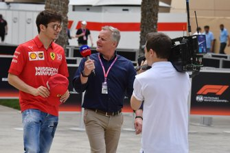 Pole man Charles Leclerc, Ferrari, met Johnny Herbert, Sky Sports F1