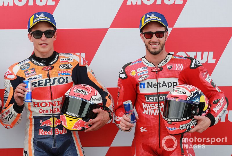 Ganador de la pole Marc Márquez, Repsol Honda Team, tercer lugar, Andrea Dovizioso, Ducati Team