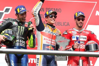 Podium: race winner Marc Marquez, Repsol Honda Team, second place Valentino Rossi, Yamaha Factory Racing, third place Andrea Dovizioso, Ducati Team