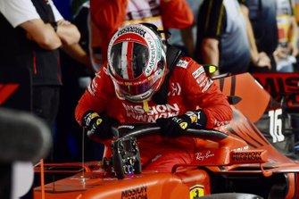 Charles Leclerc, Ferrari, 3rd position, arrives in Parc Ferme
