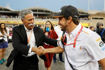 Chase Carey, Chairman, Formula 1, with Fernando Alonso