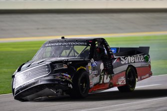 Harrison Burton, Kyle Busch Motorsports, Toyota Tundra Safelite AutoGlass shows damage after a wreck