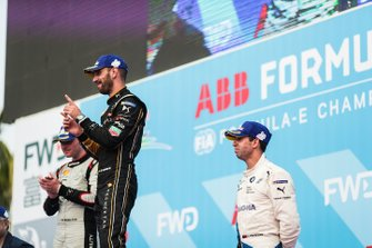 Jean-Eric Vergne, DS TECHEETAH, 1st position, Oliver Rowland, Nissan e.Dams, 2nd position, Antonio Felix da Costa, BMW I Andretti Motorsports, 3rd position, on the podium