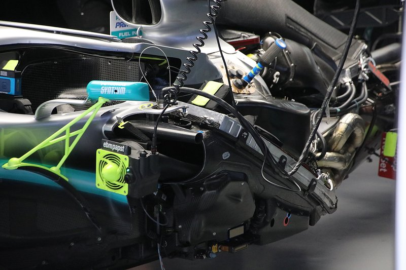 Detalle del lateral del Mercedes AMG F1 W10